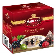 Майский Дачные ягоды черный чай в пирамидках, 20 шт
